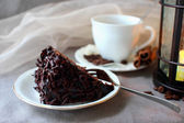 A piece of chocolate cake and coffee — Stock Photo