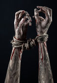 Hands bound,bloody hands, mud, rope, on a black background, isolated, kidnapping, zombie, demon — Stockfoto