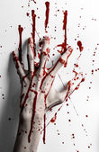 Bloody halloween theme: bloody hand print on a white leaves bloody wall — Foto Stock