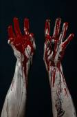 Bloody Halloween theme: horrible zombie demon bloody hands on a black background — Stock Photo