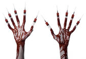 Bloody hand with syringe on the fingers, toes syringes, hand syringes, horrible bloody hand, halloween theme, zombie doctor, white background, isolated — Stock Photo
