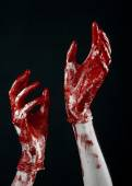 Bloody hands in white gloves, a scalpel, a nail, black background, zombie, demon, maniac — Stock Photo