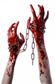 Bloedend hand met keten, bloedige keten, halloween thema, witte achtergrond, geïsoleerd, killer, ventilator, crazy — Stockfoto