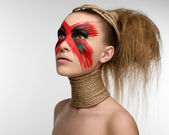 Girl Makeup red black rope on his neck — Stock Photo