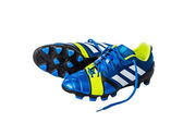 Leather blue soccer shoes — Stock Photo