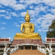 Big golden buddha statue sitting in thai temple — Stock Photo #62581323