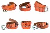 Set of Brown leather belts — Stock Photo