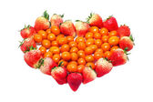 Strawberries and tomatoes heart shaped — ストック写真