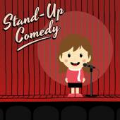 Female stand up comedian cartoon — Stock Vector
