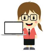 женщина с ноутбуком — Cтоковый вектор