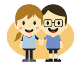 Love couple romance cartoon — Stock vektor