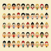 Boy and girl cartoon character set — Stock Vector