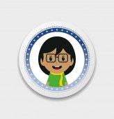 Cute girl cartoon character label — 图库矢量图片