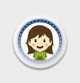 Cute girl cartoon character label — Stockvector