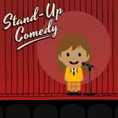 Female stand up comedian — Stock Vector