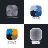 Puzzle problem solving logos — Stock Vector
