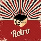 Retro cartoon character head — Stock Vector