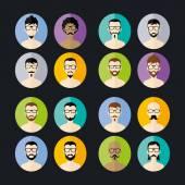 Men hipsters avatars set — Vector de stock