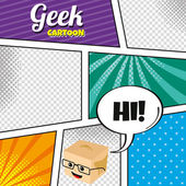 Geek  cartoon character template — 图库矢量图片