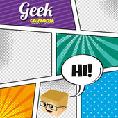 Geek  cartoon character template — Vector de stock