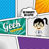 Geek cartoon character — Vector de stock