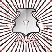 Shield woth superhero sign — Stock Vector