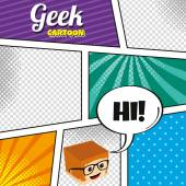 Geek with glasses cartoon template — ストックベクタ