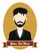 Retro guy hipster cartoon — Vector de stock