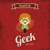 Geek cartoon character — Stock Vector