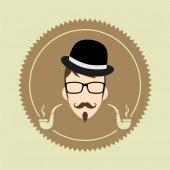 Gentleman cartoon user picture — Stok Vektör