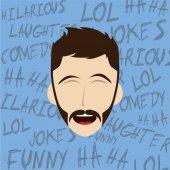 Hilarious laughing man — Stock Vector