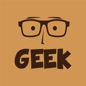 Geek word with funny face — Stock Vector