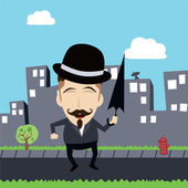 Funny guy with bowl hat and umbrella cartoon — Vector de stock