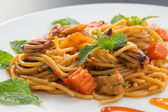 Spaghetti with squid — Stock Photo
