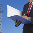 Business, Writing, Note Pad on Construction background — Stock Photo #74692999