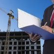 Business, Writing, Note Pad on Construction background — Stock Photo #74693011