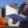 Business, Writing, Note Pad on Construction background — Stock Photo #74717691
