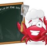 Cute Chef Crab with Spatula and Menu Board. — Stock Vector #55970259
