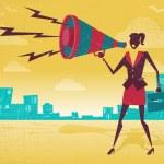 Businesswoman with Megaphone — Stock Vector #62965847
