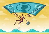Businessman uses his Financial Dollar Bill Parachute. — Stock Vector