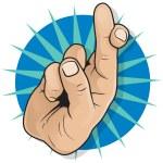 Vintage Pop Art Fingers Crossed Sign.  — Stock Vector #65454539