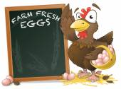 Cute Chicken with Sign Board. — Stock Photo