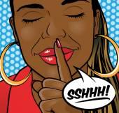Pop Art African American Girl Sshhh Lips. — Stock fotografie