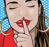 Pop Art Style Sshhh Girl Plain. — Stock fotografie