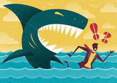 Businessman in Dangerous Shark Attack. — Stock Vector