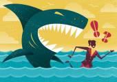 Businesswoman in Dangerous Shark Attack. — Stock Vector