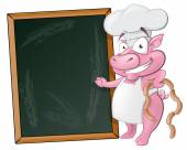 Cute Pig Chef Character with Chalk Board. — Stock Vector