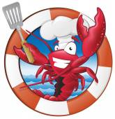 Cute Lobster Chef Character — Vector de stock