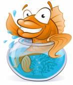 Cute Goldfish in his little Fishtank. — Stock Vector