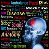 """X-ray skull and """"Stroke"""" and Medical word cloud — Stock Photo"""